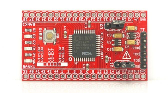 XC2C64A CoolRunner-II CPLD development board