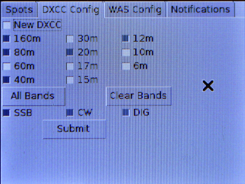Ham Radio Raspberry Pi Project - DXCC Configuration Screen