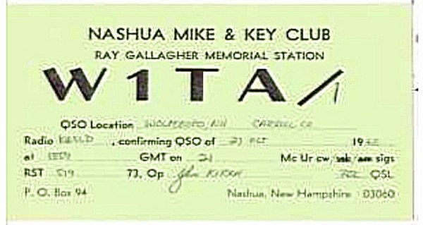 QSL Card - Nashua Mike & Key Club W1TA