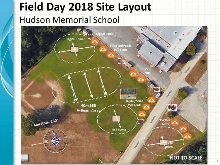 2018 Field Day Site Layout at Hudson Memorial School