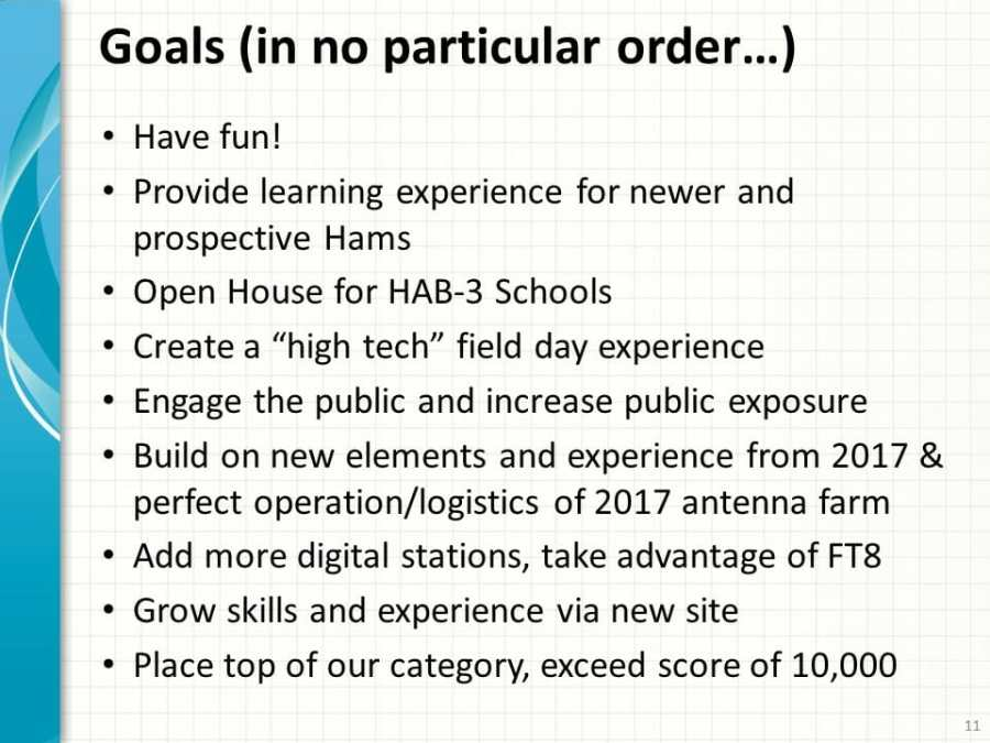 Our Goals for Field Day 2018