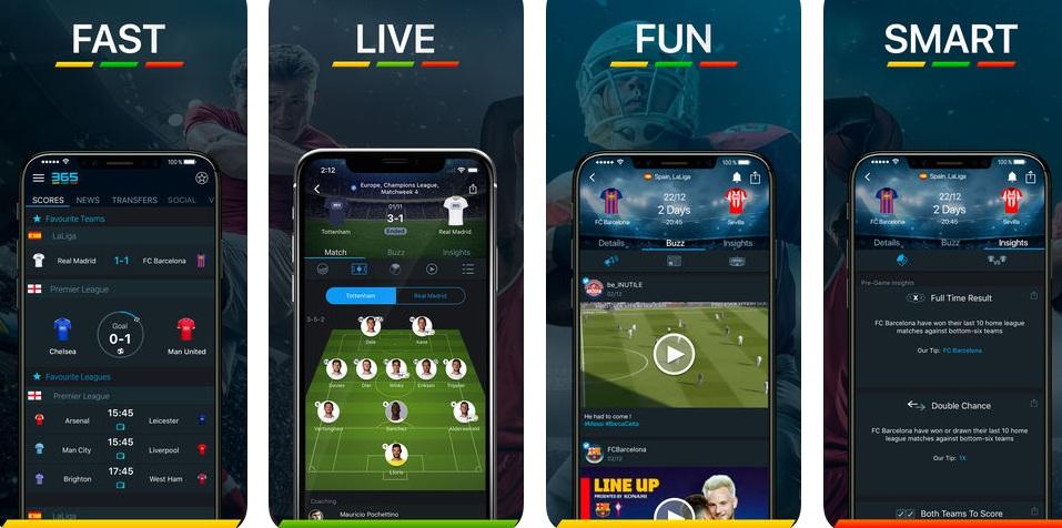 365Scores - أفضل خمس تطبيقات للأخبار والأحداث الرياضية للأندرويد والأيفون