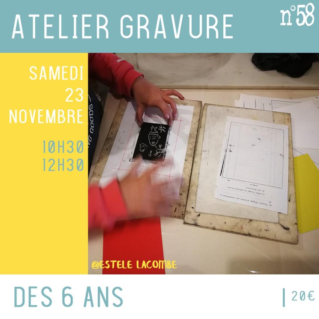 Atelier enfants autour de la gravure samedi 23 novembre 10h30 - 12h30