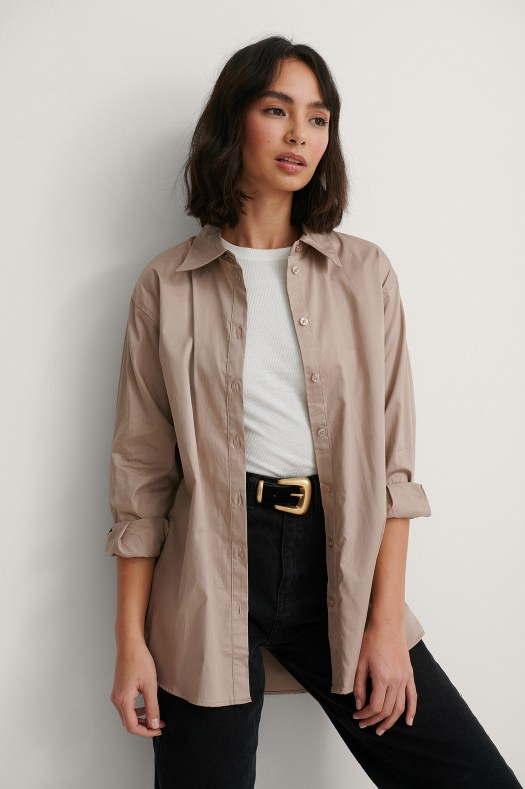 Recycled Oversized Shirt Brown | na-kd.com