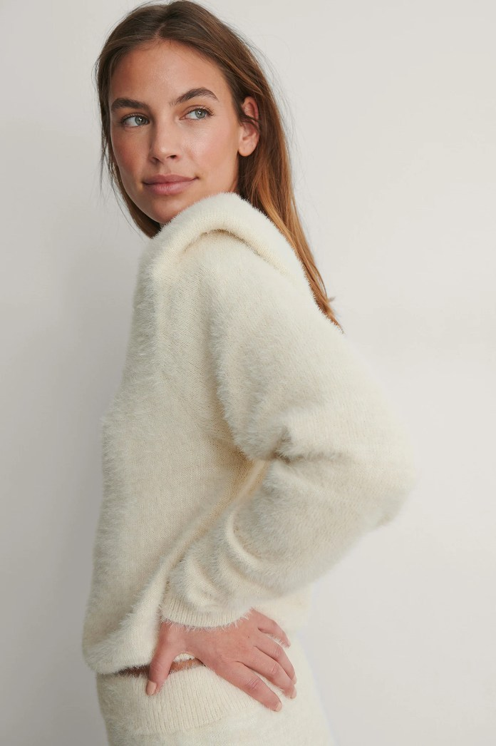 Cream Sweater With Shoulder Pads