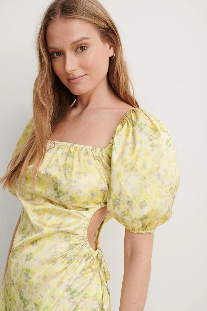 Green Flower Puff Sleeve Cut Out Dress na-kd
