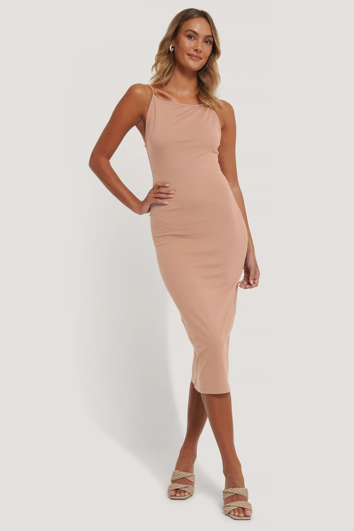 Brown Midi Dress With Thin Straps