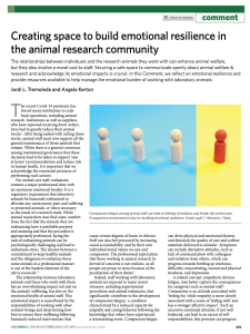 Creating space to build emotional resilience in the animal research community