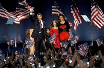 Barack Obama auf der Siegesfeier zu seiner ersten Präsidentschaft