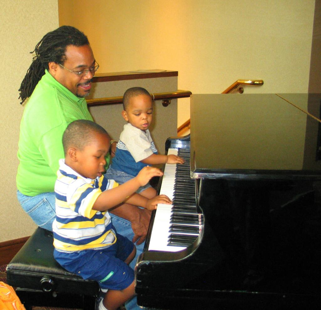 family at piano