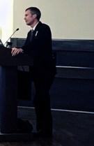 Tim Stetter talking at the podium