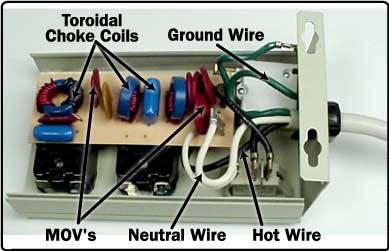 The inside of a surge protector.  Courtesy of How Stuff Works.com