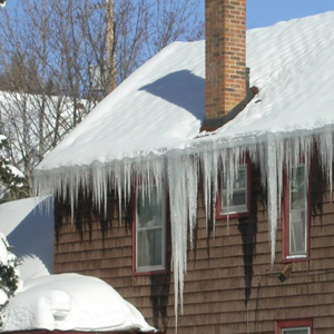 Notice how the ice is heaviest beneath the chimney, where snow can be melted easily