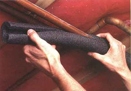 Foam insulation will prevent pipes from sweating