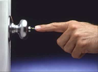 Static electricity can have a very high voltage even though it's usually harmless