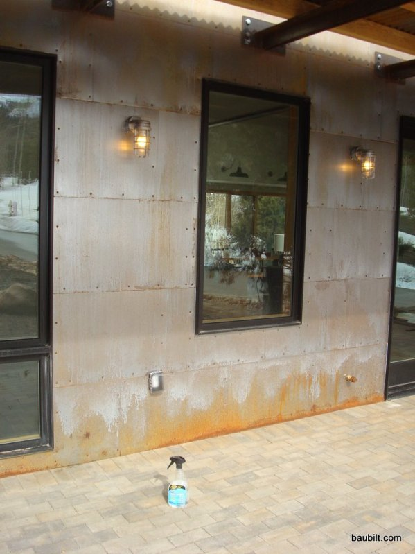 These panels have been exposed to rainwater, which is resulting in rust and discoloration.  (Photo from Baubilt.com)