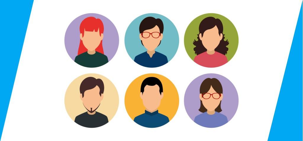 Diferentes perfiles de usuario pueden ser obtenidos de fichas de persona (se muestran ejemplos de seis avatares).