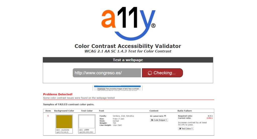 Pantallazo de la aplicación a11y validator, que permite validar los colores de una página web.