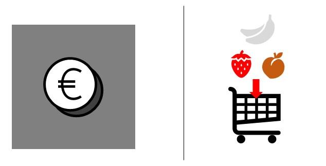 Dos iconos gráficos (una moneda de euro y un carrito de compra con fruta) en los que el contraste de parte de los elementos no afecta a su significado.