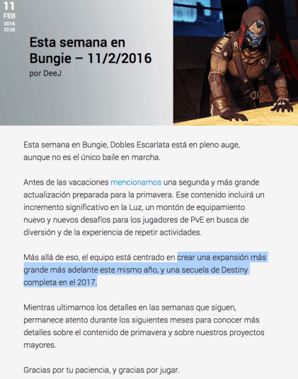 Destiny 2 confirmado