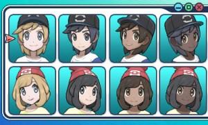 Pokémon Sol y Luna, selección de personaje