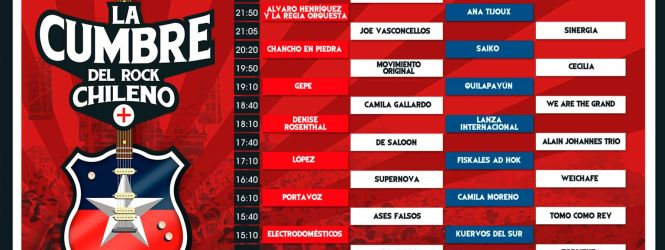 La Cumbre del Rock Chileno anuncia programación y horarios, revísalos acá