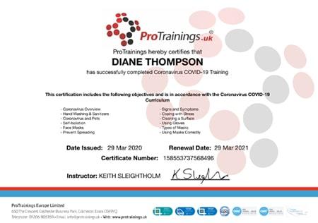 Cornavirus COVID-19 Training Certificate
