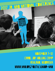 Blue poster with yellow text. 2017 Jr. NAD National Conference. Photo of three youth looking at easel board. Dates and location below photo.