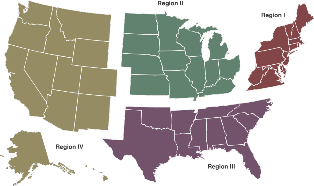 Map of the US with four regions defined. Region 1, Region II, Region III and Region IV