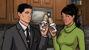 """ARCHER: Episode 10, Season 6 """"Reignition Sequence"""" (Airing Thursday, March 12, 10:00 PM e/p) An office romance is interrupted by the Russians. Pictured: (L-R) Sterling Archer (voice of H. Jon Benjamin), Lana Kane (voice of Aisha Tyler). CR: FX"""
