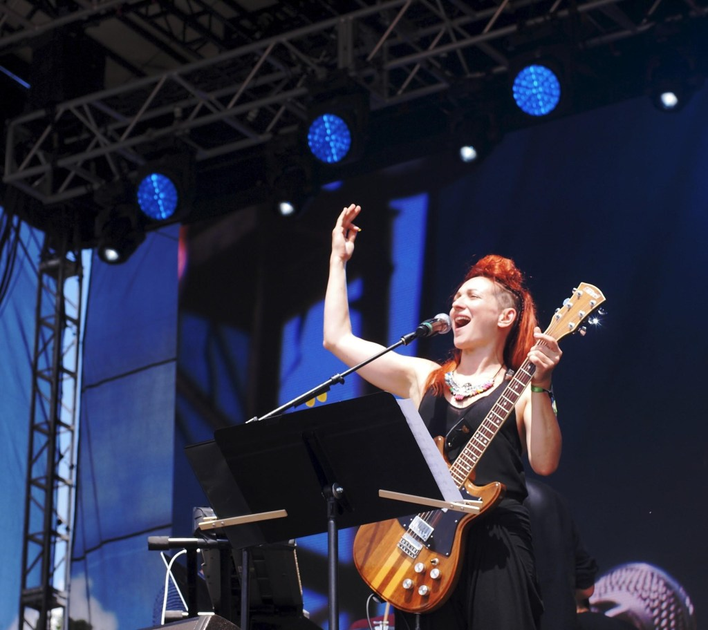 Shara performing with So Percussion at the Eaux Claires Music Festival, photo by Julia Olson
