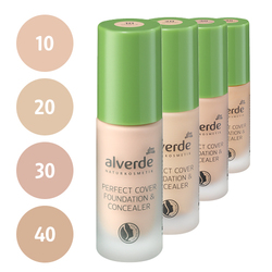 alverde Perfect Cover Foundation & Concealer (10 vanilla, 20 almond, 30 champagne, 40 caramel)