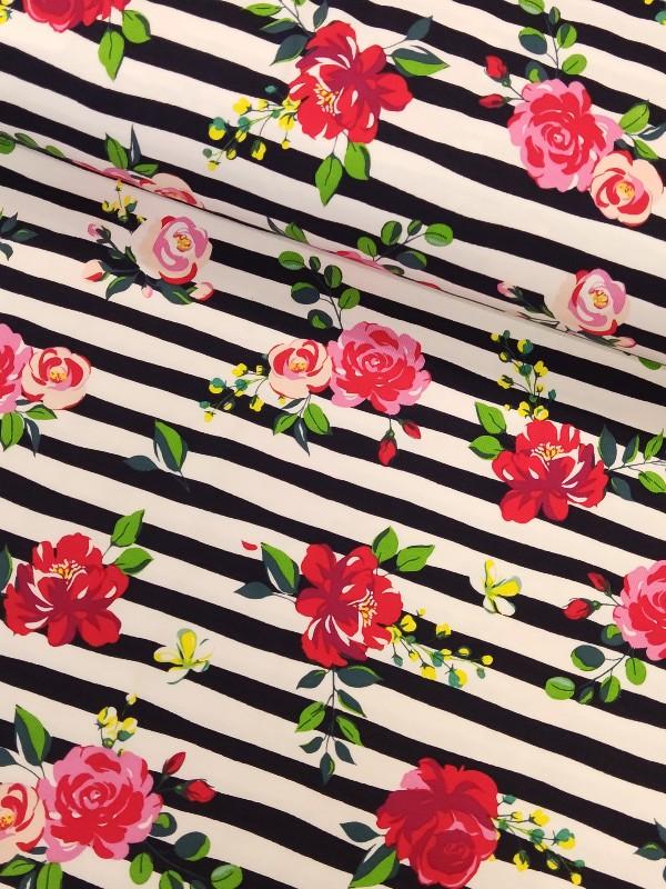 Jersey Flowers on Stripes