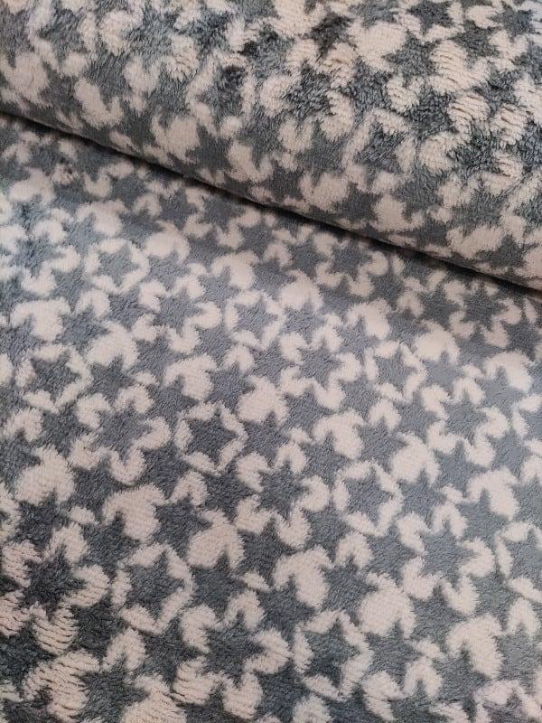 Kuschelfleece Sterne Blaugrau