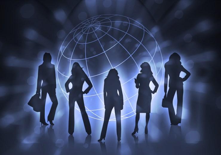 blue symbolic business women with world