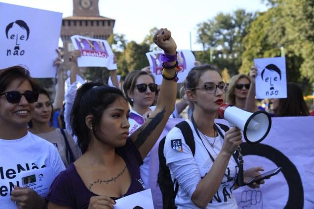 women protesting milano
