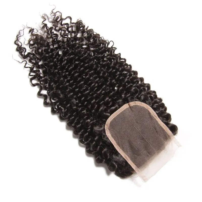 Curly Virgin Hair Weave 3 Bundles With Lace Closure 4x4