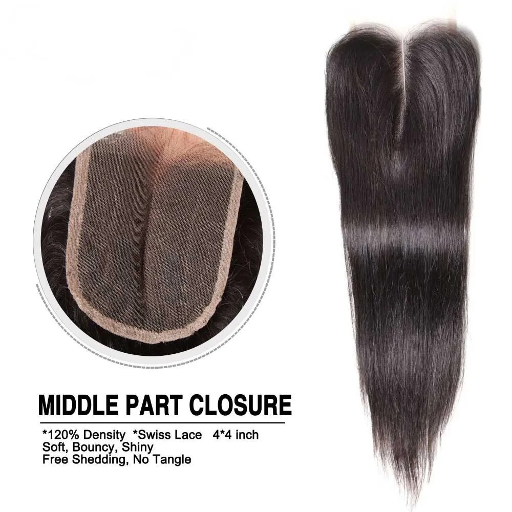 Nadula Three Part Middle Part And Free Part Lace Closure