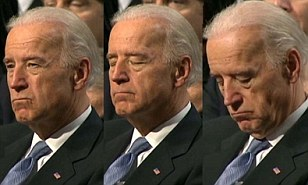 Biden sleeping through Obama speech