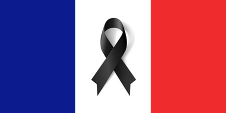 French flag with black ribbon