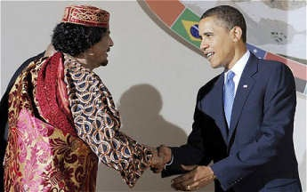 Gadhafi and Obama, birds of a feather