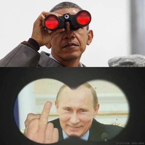 Putin giving Obama the finger
