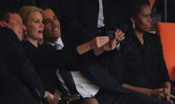 Obama flirting selfie