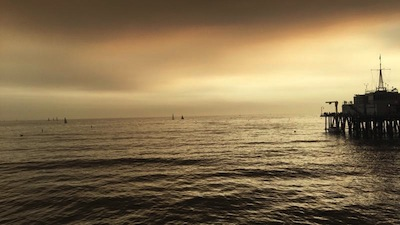 Santa Monica Pier, with smoke from fire