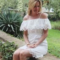 Burdastyle fashion, Weißes Spitzencarmenkleid, kleid nähen