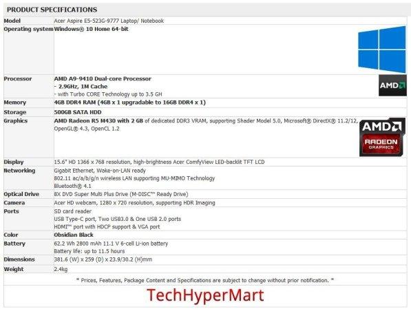 AMD bristol ridge Acer Aspire E5-523G-9777