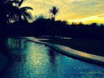 sunset on salt water swimming pool