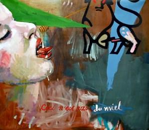 "Honey, Ceci N'est pas du Miel, 2011, acrylic and latex on canvas, 41½"" x 47""."