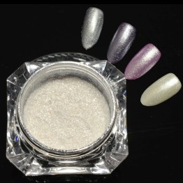 Vit chrome powder - Vit chrome pulver - nagelglitter