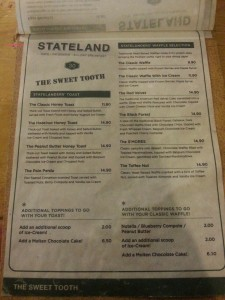 Stateland Cafe - Food Menu